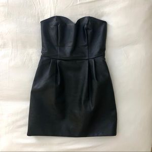 Topshop Black Faux Leather Strapless Dress